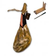 Presunto de gordura branca bodega grande reserva inteiro da Revisan Ibéricos + suporte de presunto + faca