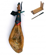 Presunto de cebo de campo inteiro ibérico da Revisan Ibéricos + suporte de presunto + faca