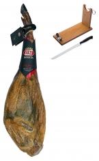 Presunto de cebo inteiro ibérico certificado da Revisan Ibéricos + suporte de presunto + faca