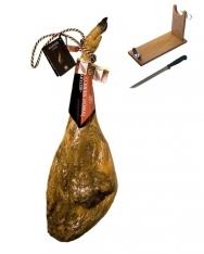 Presunto de bolota ibérico com DO inteiro da Guijuelo Revisan Ibéricos + suporte de presunto + faca