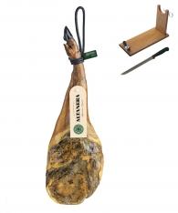Presunto da pá ibérico de cebo de campo da Altadehesa + suporte de presunto + faca