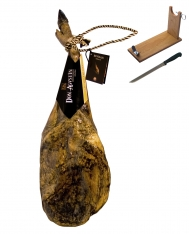 Presunto da pá de bolota ibérico qualidade superior inteiro da Don Agustín + suporte de presunto + faca